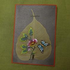 Kort med handmålade pipallöv